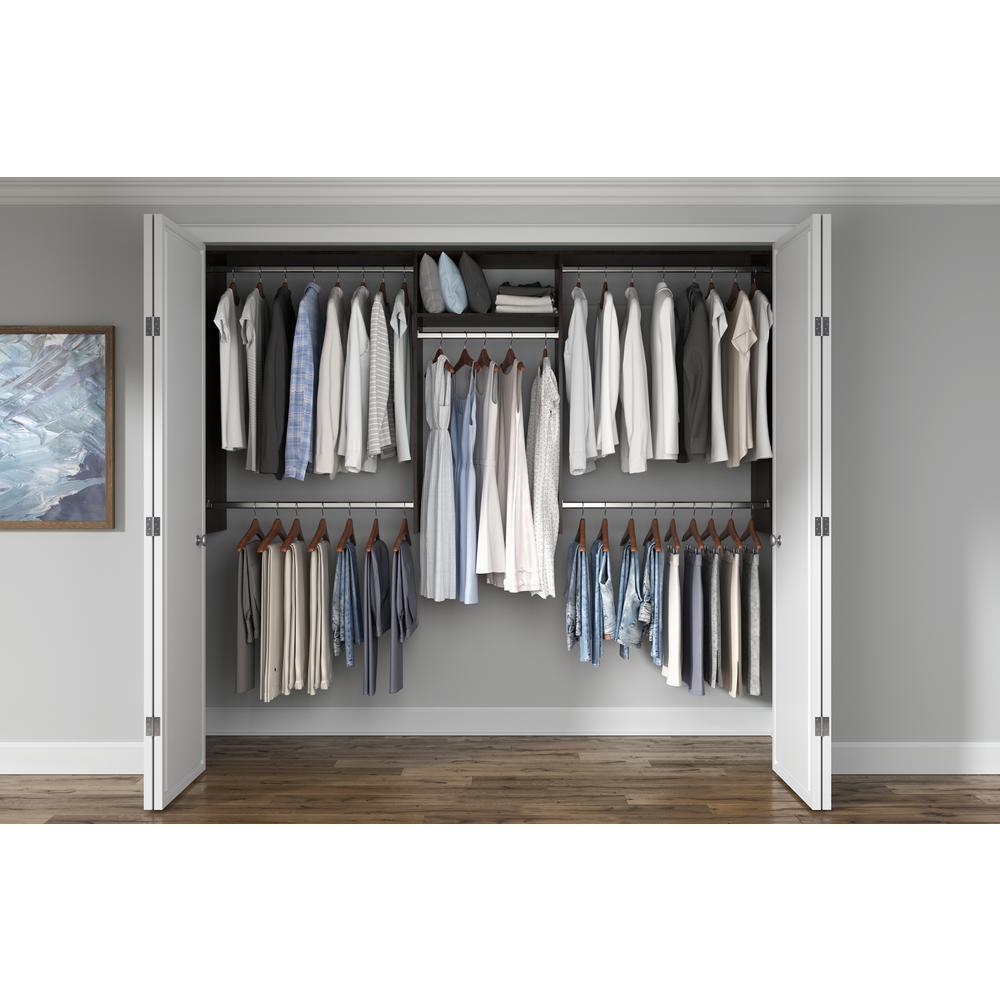 Basic Hanging 60 in. W - 96 in. W Espresso Wood Closet System
