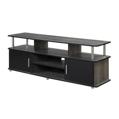 Monterey 59 in. Weathered Gray and Black Composite TV Stand Fits TVs Up to 60 in. with Storage Doors