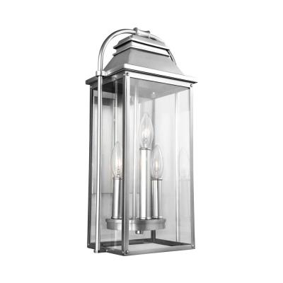 Feiss Wellsworth 3-Light Painted Brushed Steel Outdoor 18.25 in. Wall Lantern Sconce