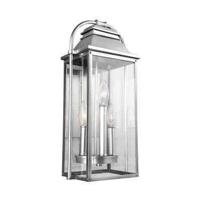 Wellsworth 3-Light Painted Brushed Steel Outdoor 18.25 in. Wall Lantern Sconce