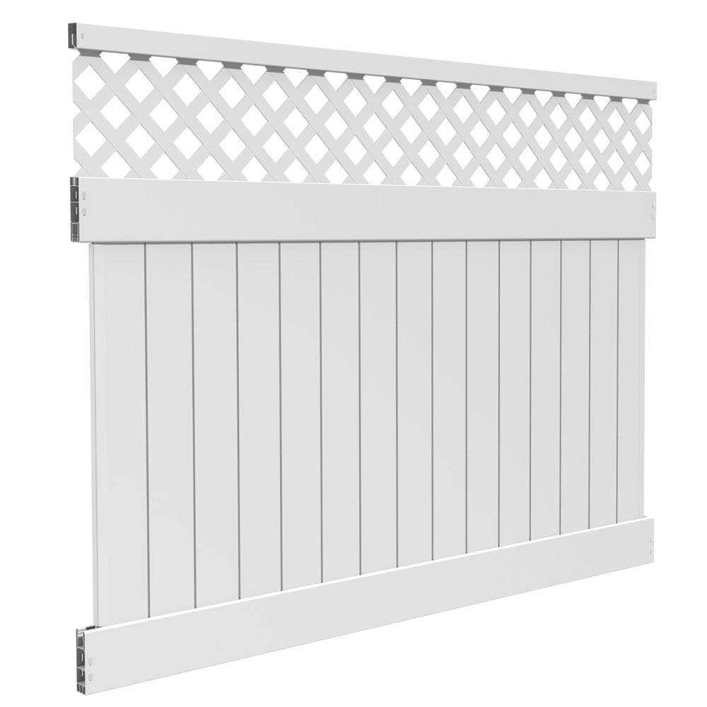 Veranda Anderson 6 ft. x 8 ft. White Vinyl Lattice Top Fence Panel