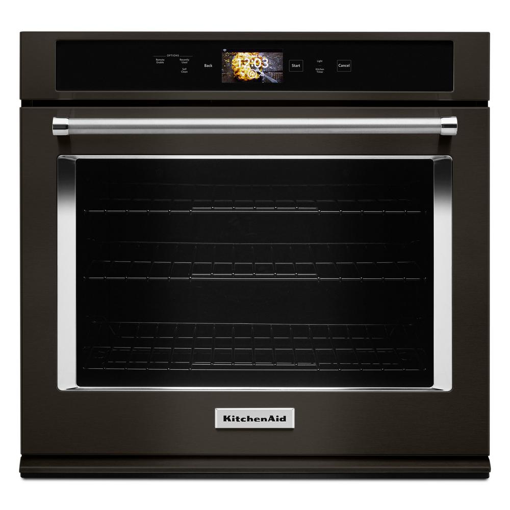 Kitchenaid 30 In Single Electric Smart Wall Oven With Ed Attachments Printshield Black Stainless