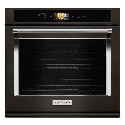 30 in. Single Electric Smart Wall Oven with Powered Attachments in PRINTSHIELD Black Stainless