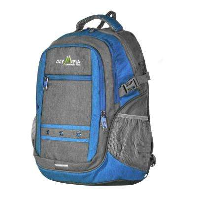 Eagle 25L 19 in. Gray and Blue Outdoor Backpack with padded laptop/tablet compartment