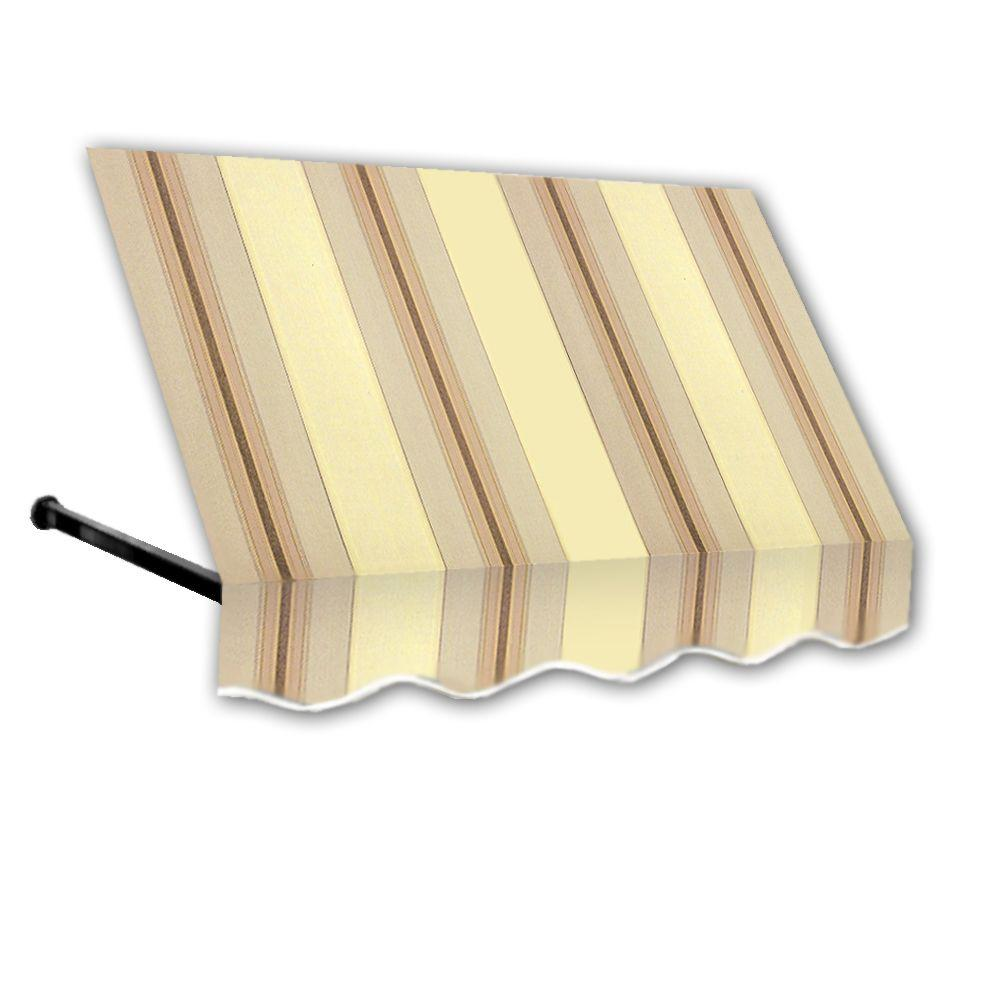 AWNTECH 3 ft. Dallas Retro Window/Entry Awning (56 in. H x 48 in. D) in Gray / Cream Stripe