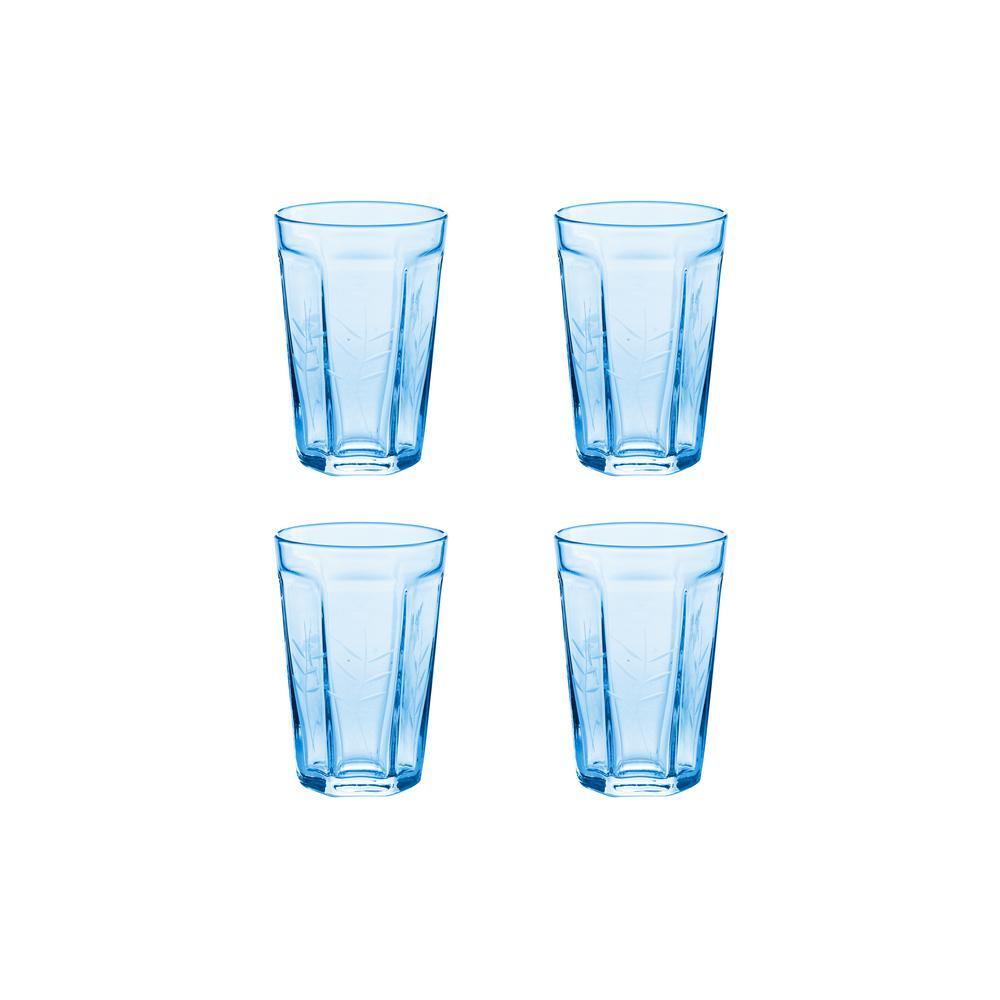 Arcadia 6 oz. 4-Piece Blue Etched Bistro Glass