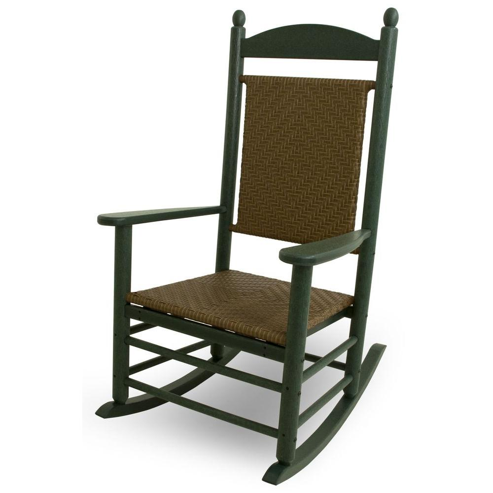 Jefferson Green Woven All-Weather Plastic Outdoor Rocker with Tigerwood Weave