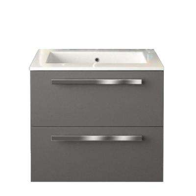 Ambra 24 in. W x 18-1/10 in. D Bath Vanity in Glossy Slate with Tekorlux Vanity Top in White with White Basin