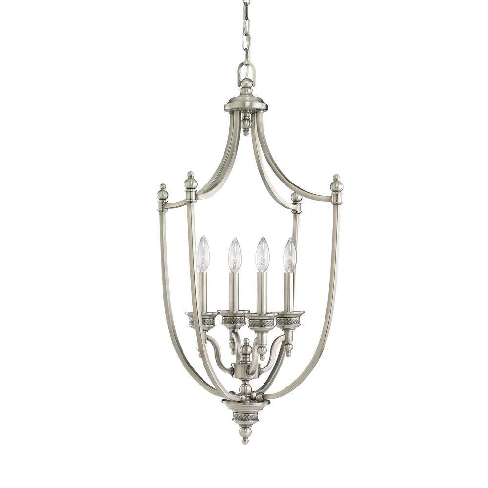Laurel Leaf 4-Light Antique Brushed Nickel Hall-Foyer Pendant