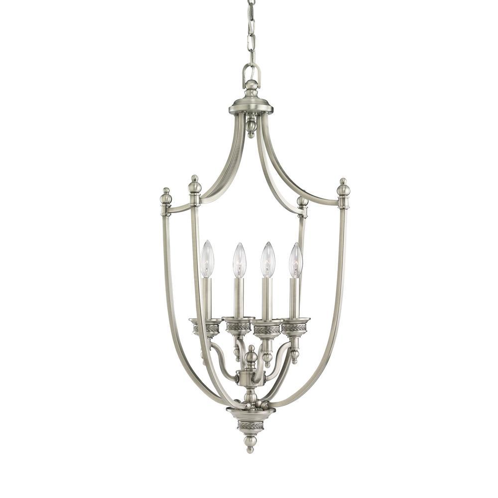 Laurel Leaf 4-Light Antique Brushed Nickel Hall-Foyer Pendant