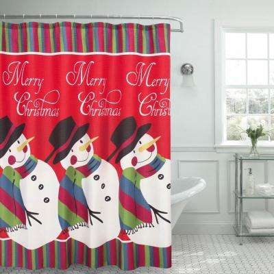 70 in. x 72 in. Snowman Surprise Textured Shower Curtain