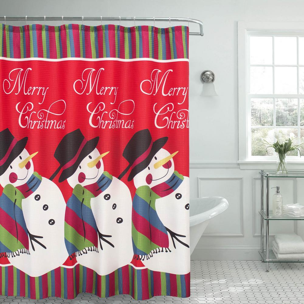 70 In X 72 Snowman Surprise Textured Shower Curtain