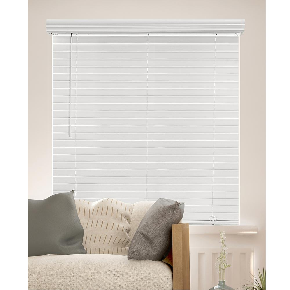 Chicology Cut To Size Chelsea White Cordless Room Darkening Privacy Slats Faux Wood Blinds With 1 In Slats 48 In W X 72 In L