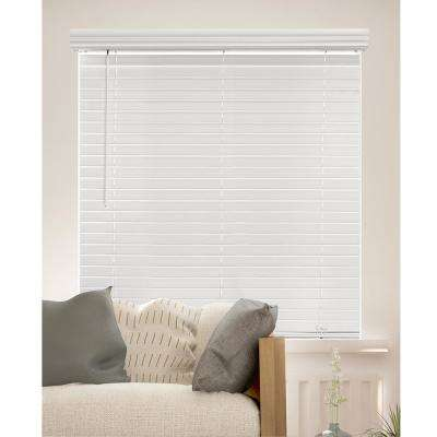 Cut To Size Chelsea White Cordless Room Darkening Resists Humidity Faux Wood Blinds With 2 In Slats 70 W X 48 L