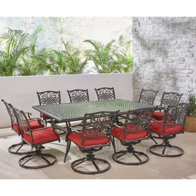 Traditions 11-Piece Aluminum Outdoor Dining Set with 10 Swivel Rockers and Red Cushions