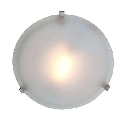 Cirrus 1-Light Satin Flushmount with Frosted Glass Shade