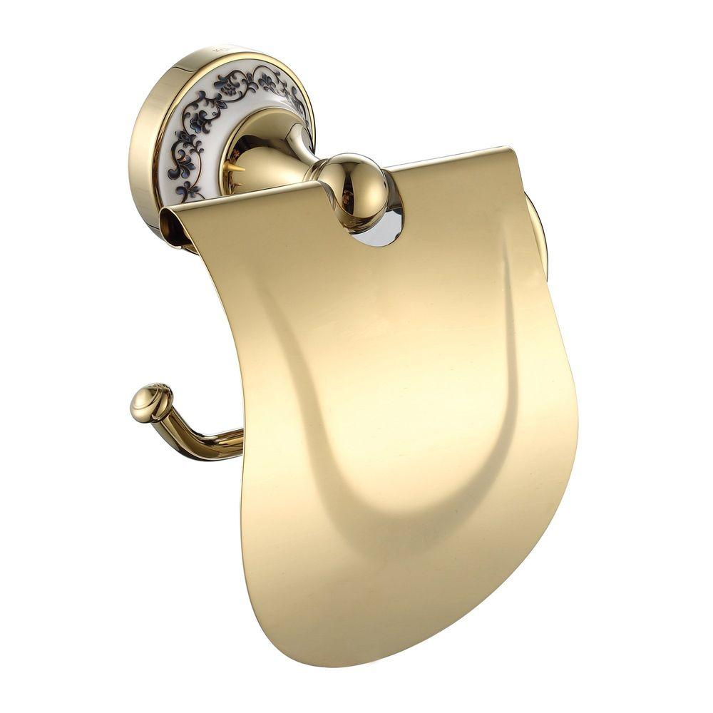 KRAUS Apollo Single Post Toilet Paper Holder with Cover in Gold-DISCONTINUED