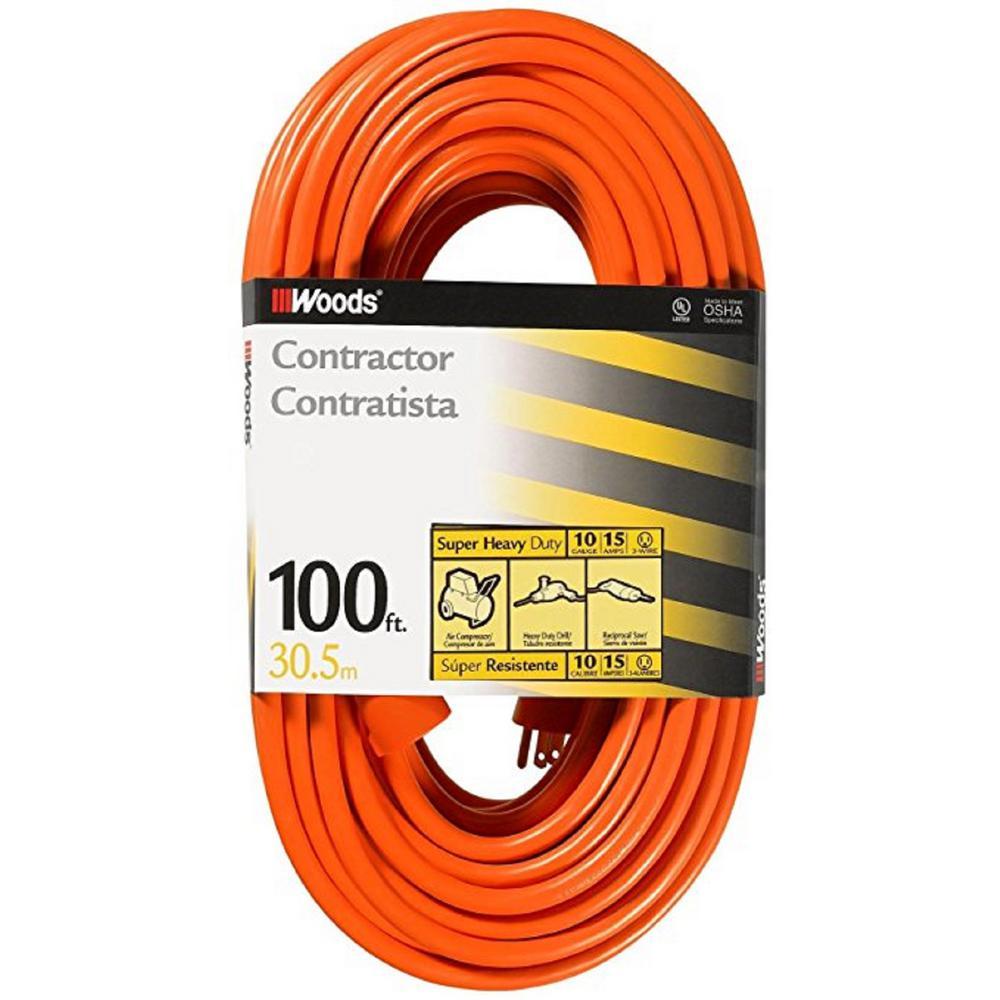 Woods 100 Ft. 10/3 SJTW Outdoor Heavy-Duty Extension Cord