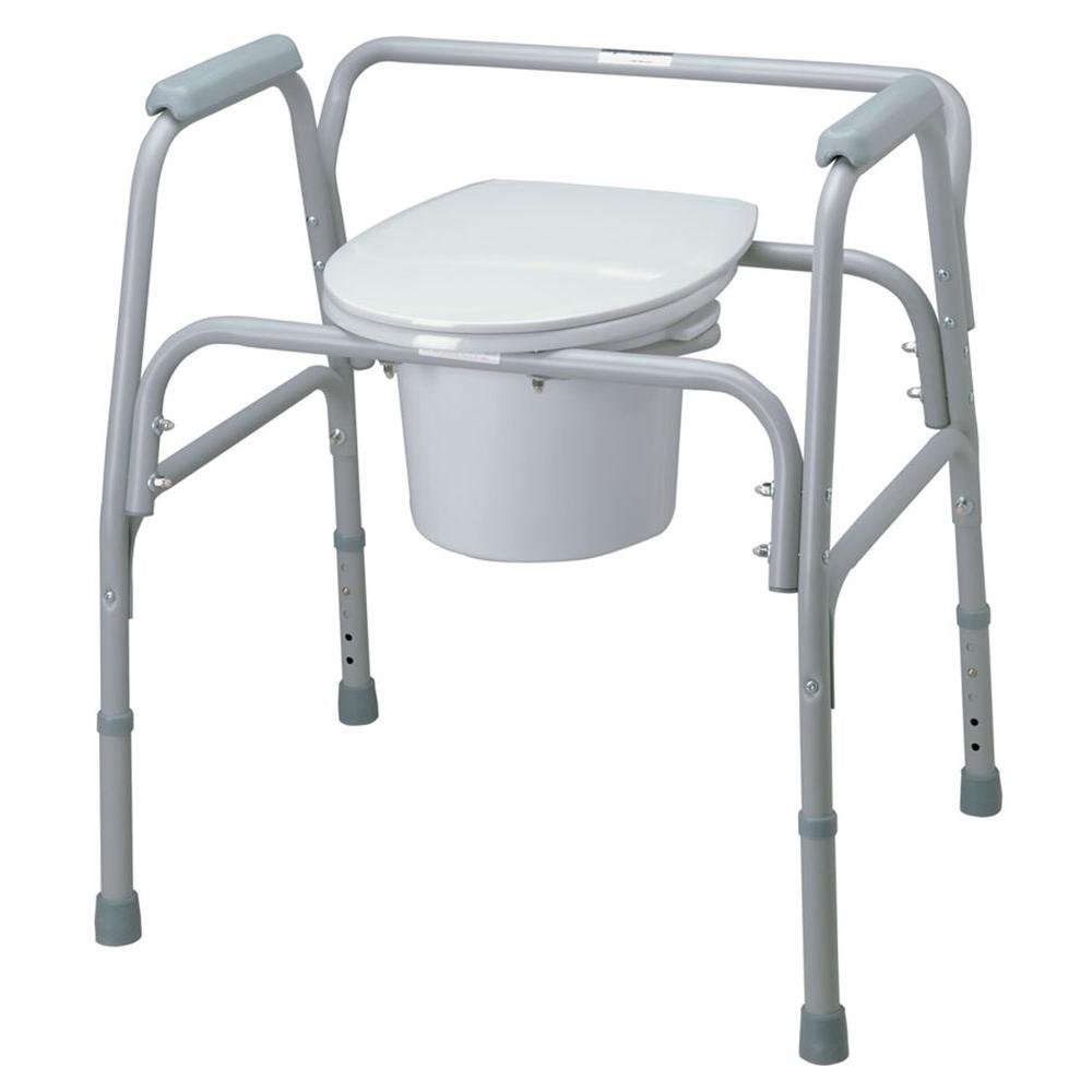 medline Bariatric Folding Bedside Commode, Gray