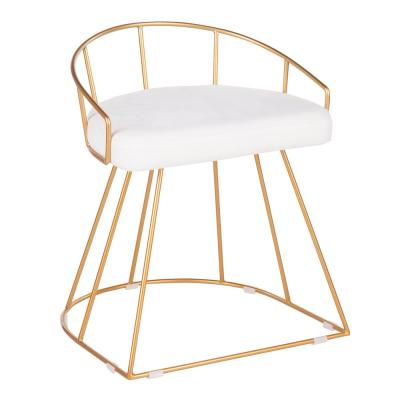 Canary 18 in. Gold Vanity Stool with White Velvet Cushion