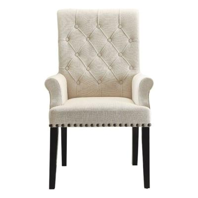 Cream and Black Diamond Tufted Upholstered Dining Chair