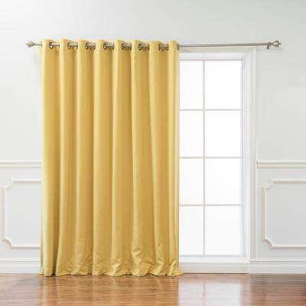 Wide Basic 100 in. W x 96 in. L Blackout Curtain in Mustard