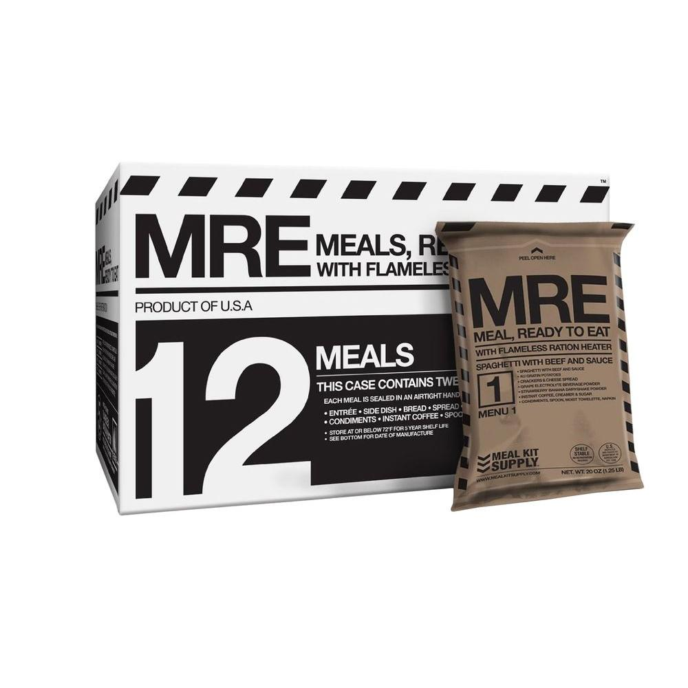 null Emergency Shelf Stable Meals Ready to Eat (MREs) with 3-Courses (12-pack)