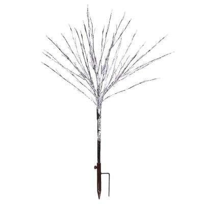 39 in. Silver Taped Bush Lighting Decor with Warm White LED Lights