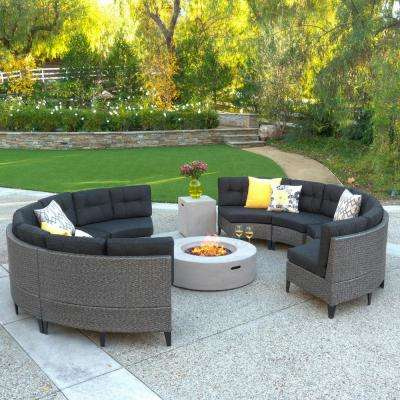 Navagio Mixed Black 10-Piece Wicker Patio Fire Pit Sectional Seating Set with Dark Gray Cushions