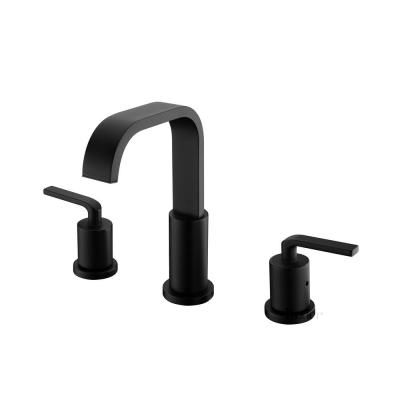 Contemporary 8 in. Widespread 2-Handle Bathroom Faucet with Pop-Up Drain in Matte Black