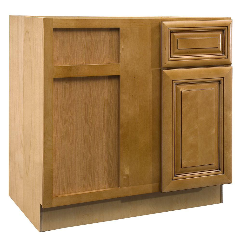Lewiston Assembled 36x34.5x24 in. Single Door & Drawer Hinge Left Base
