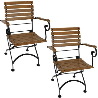 Folding Wood Chestnut Outdoor Dining Armchair (Set of 2)