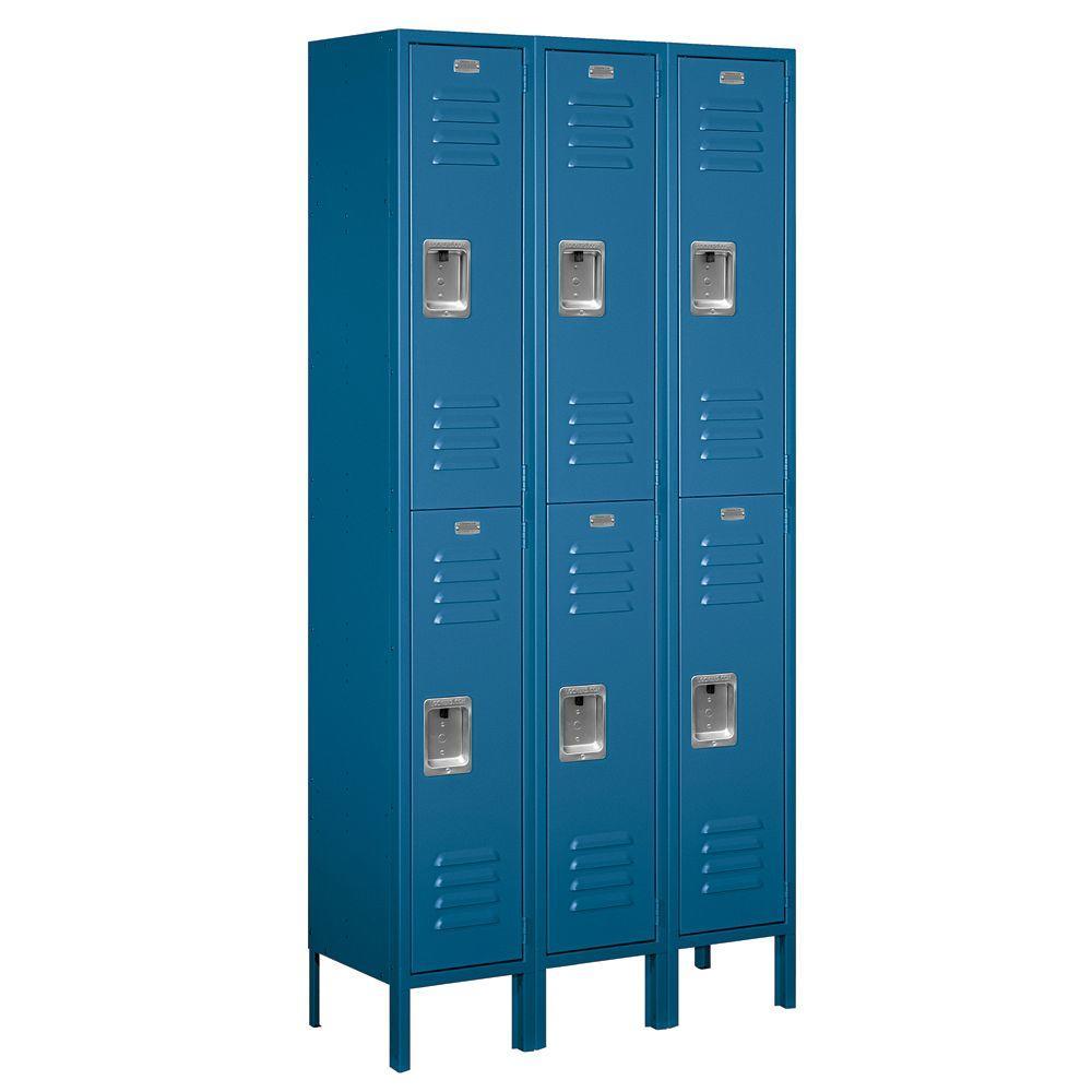 62000 Series 36 in. W x 78 in. H x 12 in. D 2-Tier Metal Locker Unassembled in Blue