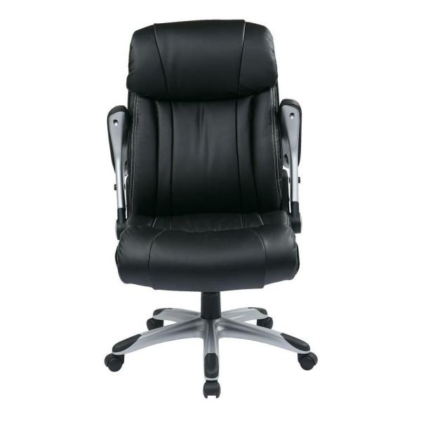 Office Star Products Black Eco Leather Executive Office Chair ECH38665A-EC3