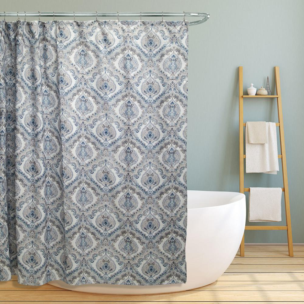 Internet 302548521 Elaine 70 In Teal Paisley Damask Canvas Shower Curtain