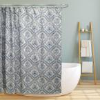 Elaine 70 in. Teal Paisley Damask Canvas Shower Curtain