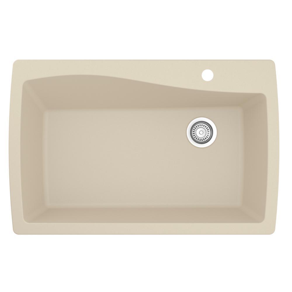 Karran Drop-In Quartz Composite 34 in. 1-Hole Single Bowl Kitchen Sink in Bisque