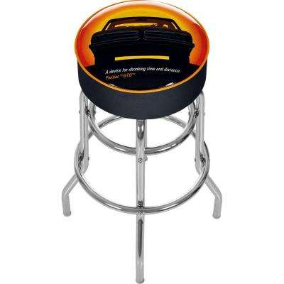 Black Pontiac GTO Time and Distance 31 in. Chrome Swivel Cushioned Bar Stool