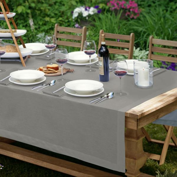 La Classica 70 in. W x 96 in. L Fabric Tablecloth in Gray