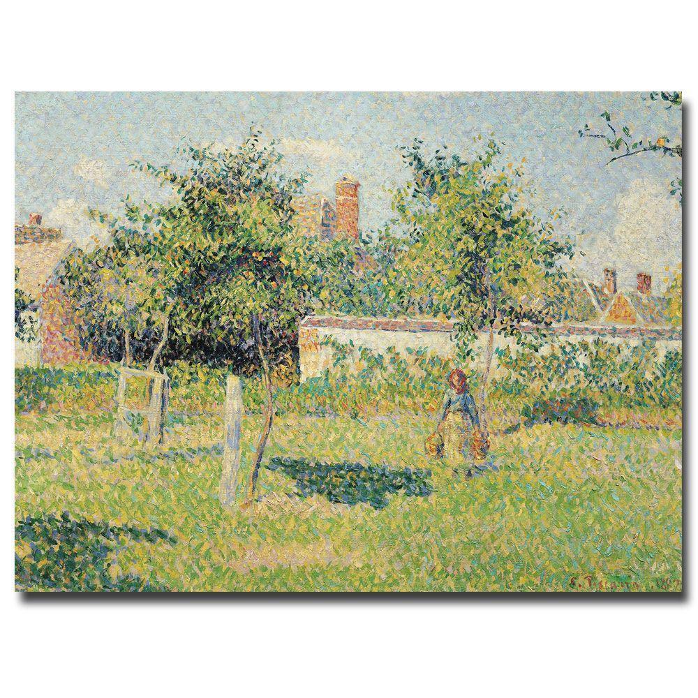 Trademark Fine Art 26 in. x 32 in. Woman in the Meadow at Eragny, 1887 Canvas Art