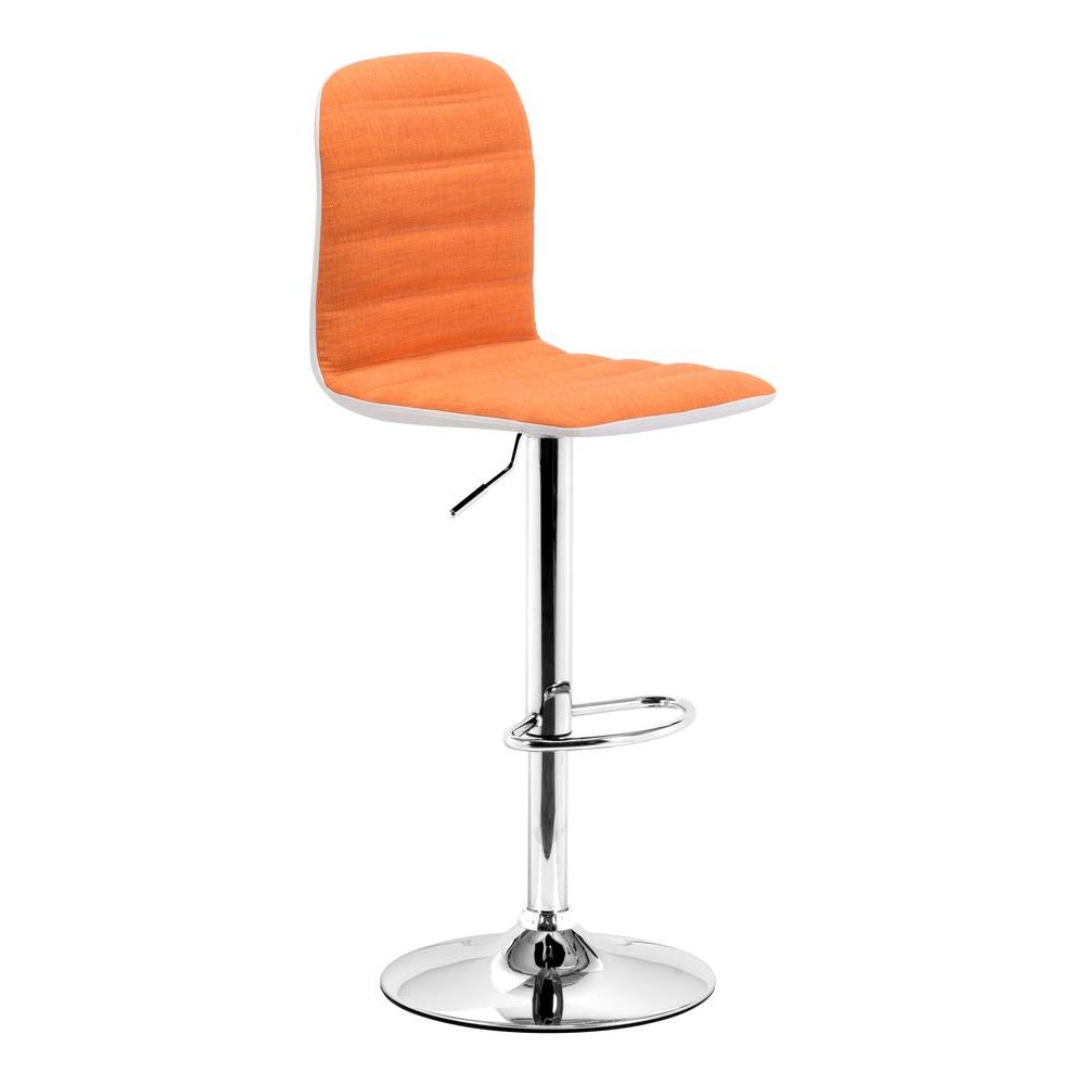 ZUO Logic Orange Fabric Barstool