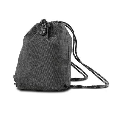 Lock Sack 17.5 in. Black Theft Resistant Drawstring Backpack