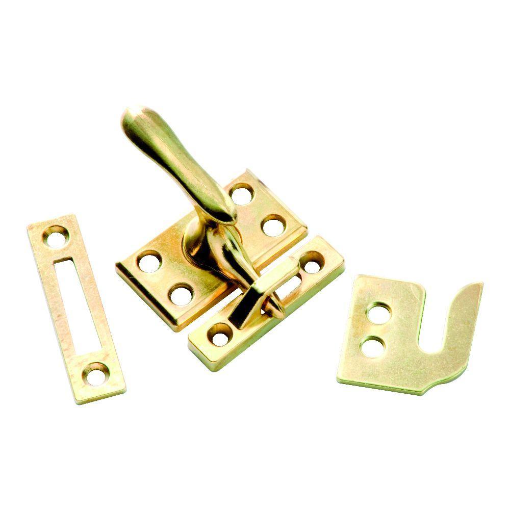 Polished Brass Window Sash Lock with Casement Fastener