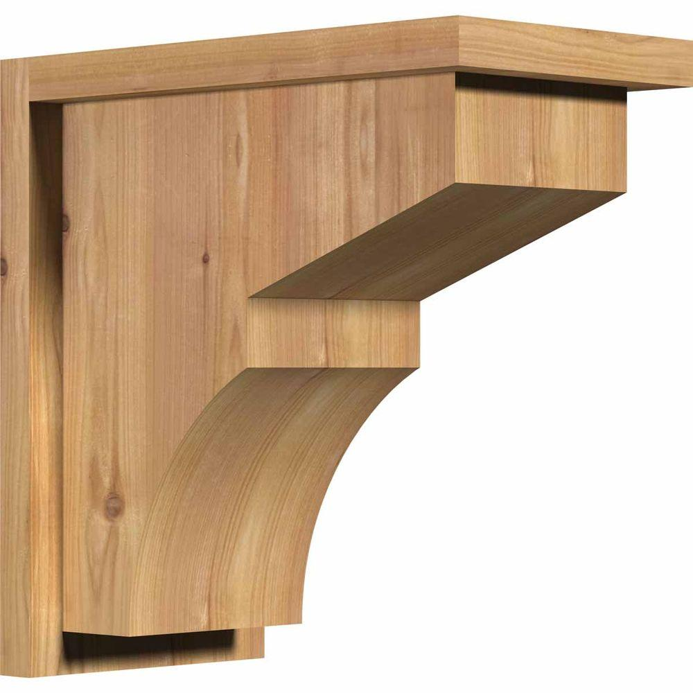 Ekena Millwork 7-1/2 in. x 14 in. x 14 in. Monterey Smooth Western Red Cedar Corbel with Backplate