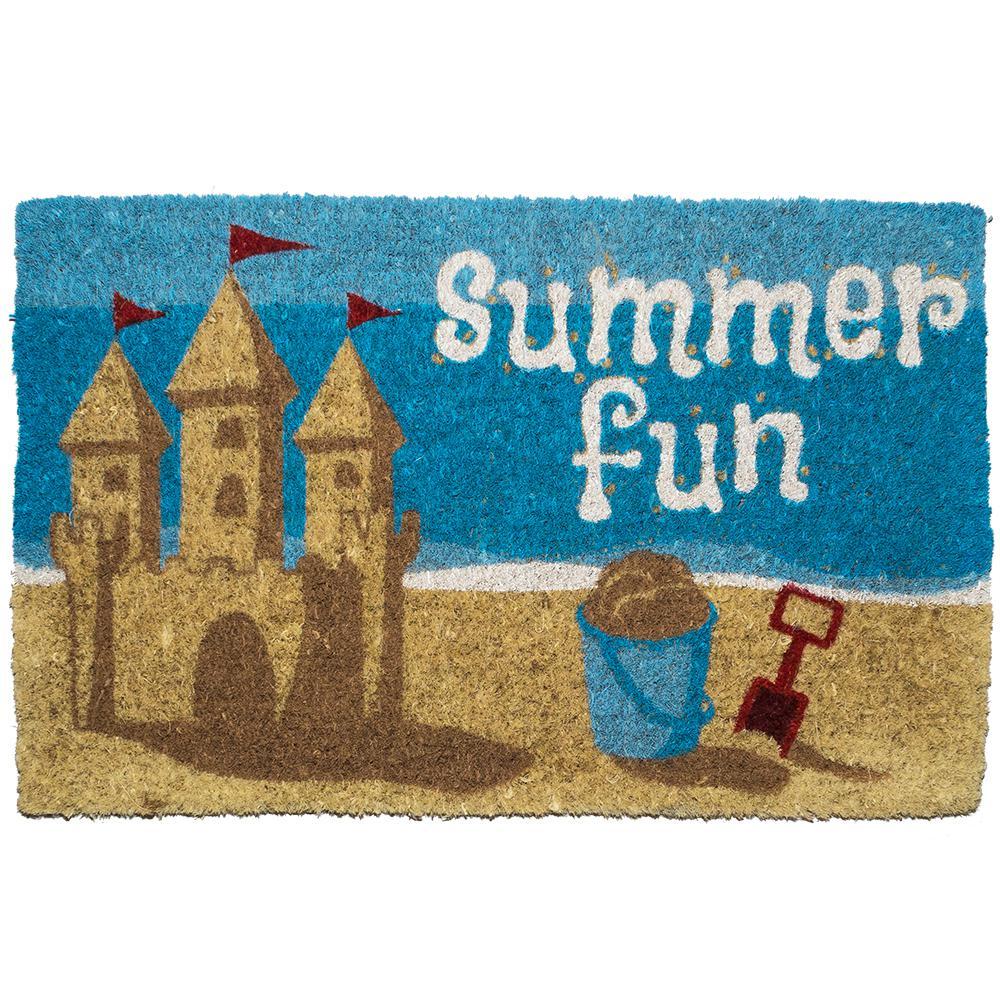 Summer Fun 18 in. x 30 in. Hand Woven Coconut Fiber Door Mat