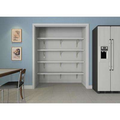16 in. D x 72 in. W x 84 in. H White Solid Wood Wall Mount Pantry Closet Kit
