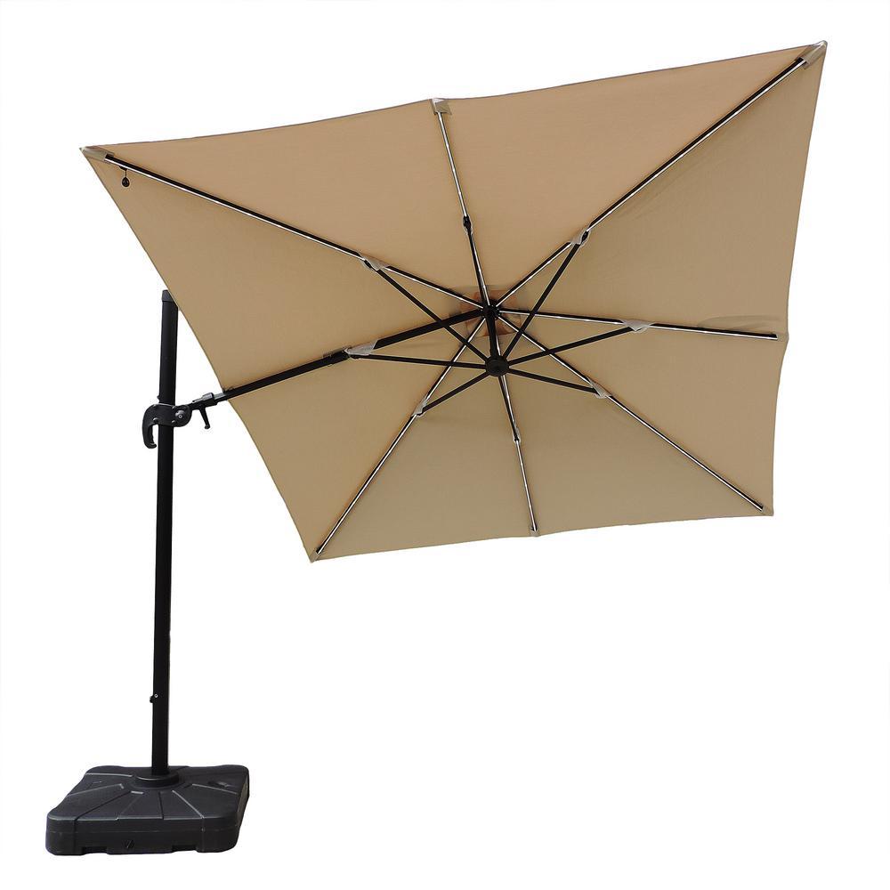 Santorini II Fiesta 10 ft. Square Cantilever Patio Umbrella in Beige Sunbrella Acrylic