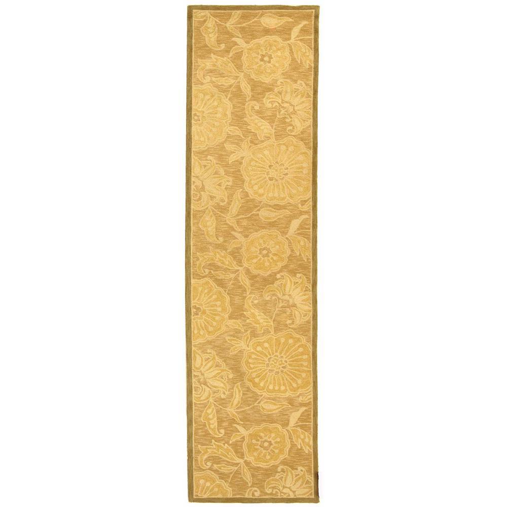 Gold Wool Runner 2/' 6 x 6/' Safavieh Chelsea Trellis Rust