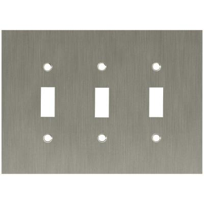 Nickel 3-Gang 3-Toggle Wall Plate (1-Pack)