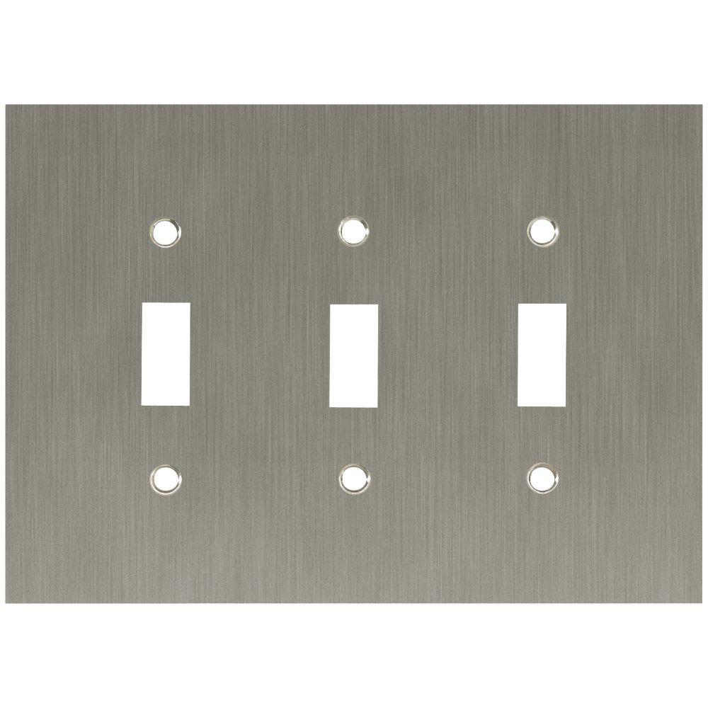 Concave Decorative Triple Switch Plate, Satin Nickel